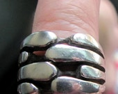 Vintage Sterling Silver Heavyweight Chunky Size 8 Mod Style Ring, Marked TES