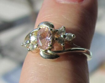 Size 5 Sterling Silver and Pink Gemstone Ring by Avon Late 80's