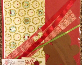 Holly Jolly Christmas Scrapbook Paper Embellishment Kit 2 Pages 12x12 DIY