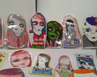 Hand drawn bookmarks,punk,alien,cat,coffee,snow white,witch,vampire,puppy,zombie,demon