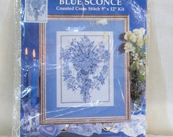 Counted Cross Stitch Kit, Design Works Crafts. Blue Sconce Floral, New, Unopened