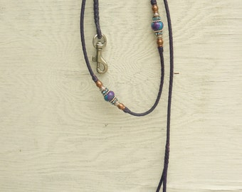 Braided Kangaroo Leather Dog Show Lead  - Purple - 38""