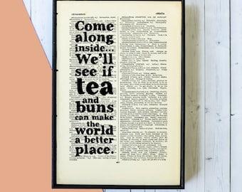Kitchen Wall Art - Tea Gifts - Tea Shop Wall Art - Tea Lover Gift - Tea and Buns Quote - Kitchen Decor - Framed Art - Kitchen Art - Book Art
