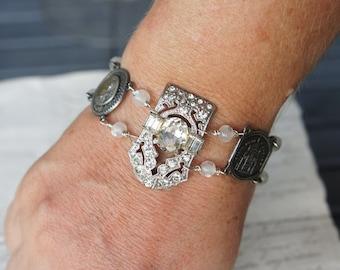 Paris-Themed Antique Assemblage Vintage Revival Bracelet withMixed Links Rhinestones Souvenir France