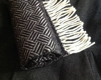 Black Herringbone Scarf Long Wool Scarf