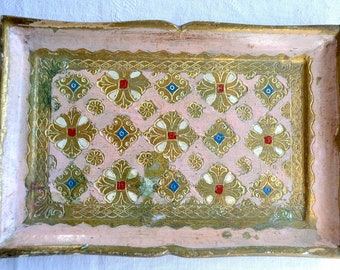 Vintage Italian Florentine Wooden Tole Tray - Pink and Gold