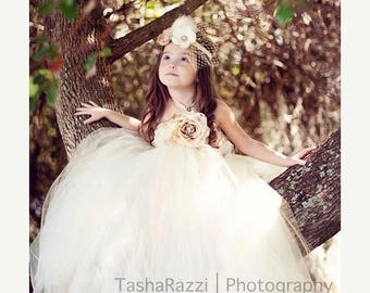 15% off Memorial Day Sale Once Upon a Fairy Tale Creme & Champagne Couture Tutu Dress