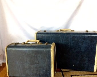 Vintage 2 Piece Set of Samsonite Marble Blue Luggage