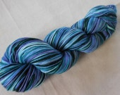 Glacier Cruise Self-Striping Superwash Merino and Nylon Sock Yarn: Aqua, Blue, Purple, Dark Green