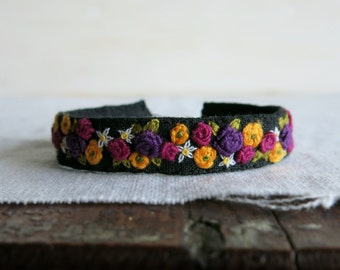 Textile Art Embroidered Cuff Bracelet - Purple Pink Yellow and White Floral Design on Black Linen Cuff Bracelet
