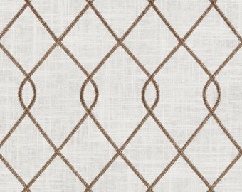 Duralee 73023-10 RICO, BROWN and ivory, designer curtain panels, drapes Duralee embroidered drapes