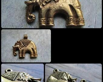 CHOICE of Brass ELEPHANT Pendants, Elephant, Brass Elephant, Elephant Bead, Elephant Pendant, Brass Pendants, Elephants, Elephant Pendants,