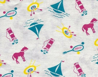 Vintage Feedsack Cotton Quilting Fabric - NOVELTY Print - Sports Theme  Golfing, Sailing Boats   - 36 x 42