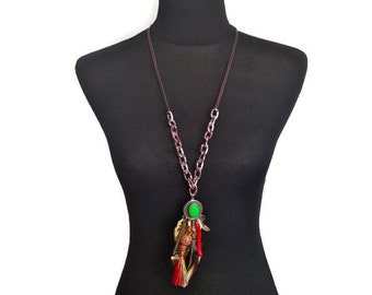 ON SALE Trendy Eclectic Unique Tribal Leather Chain Necklace with Tribal Charms, Coral, Spikes, Tassel and Horn in Green Red Brown