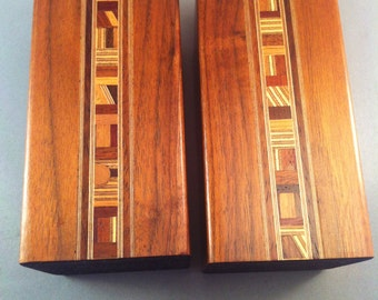 Mid Century Inlaid Wood Canisters, Walnut Inlaid Canister Set, Canisters, Vintage Wood Canisters, Inlaid Wood Canisters w/ cork,**USA ONLY**