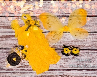 Bumble Bee Lace Petti Romper Outfit Yellow Black Gold Wings Barefoot Sandals Over Top Fabric Headband First Birthday Baby Girl Honey Costume