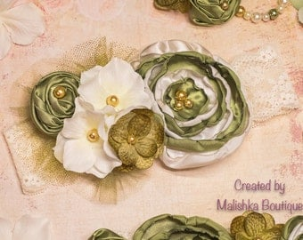 Over the Top Headband, Cream Gold Moss Green large fabric lace hydrangea baby girl first birthday photo prop olive sage baby shower gift