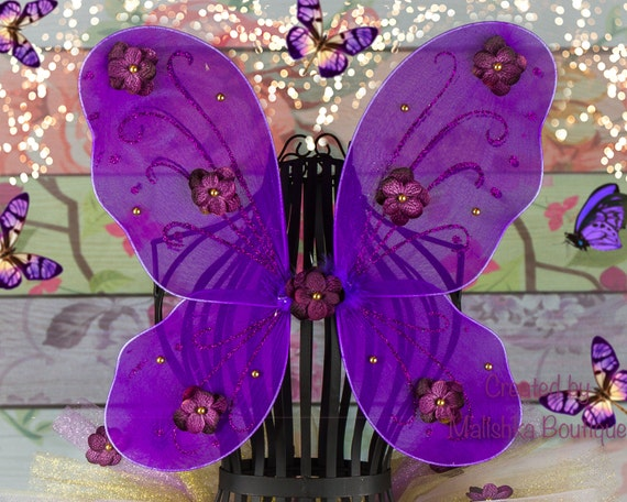 Purple Gold Butterfly Fairy Wings Glitter