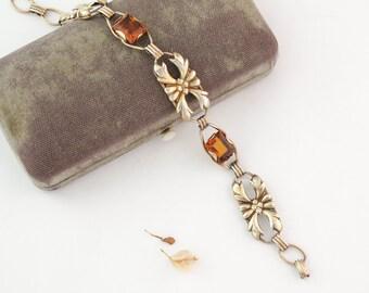 Art Deco Bracelet Gold Filled Topaz Glass Charm Drop Link Bracelet 1920s