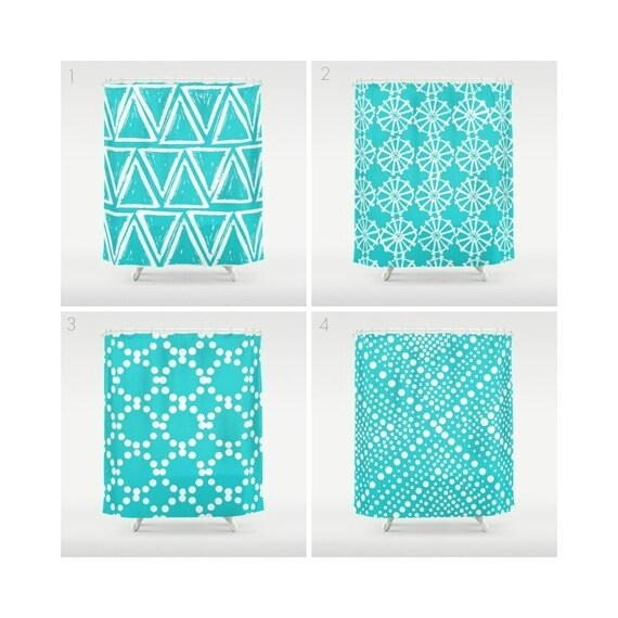 Aqua Shower Curtain - Geometric Shower Curtain - Modern Shower Curtain - White Shower Curtain - Triangle Shower Curtain - Aqua and White