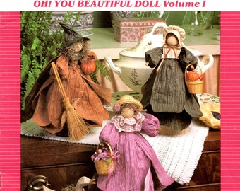 Oh You Beautiful Doll Twisted Paper Doll Sculptures Witch Goose Girl With Bonnet Basket Quilt Christmas Angel Craft Pattern Leaflet Volume 1