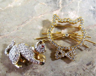 Lot of Two Rhinestone Cat Brooches