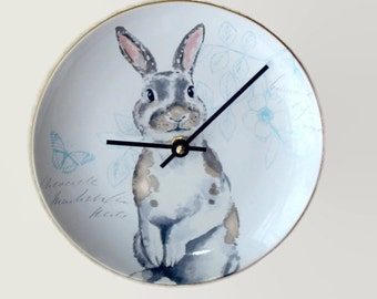 Elegant Gray Bunny Wall Clock, 8 Inch SILENT Porcelain Plate Clock, Unique Wall Decor, Kitchen Clock, Spring Clock, Nursery Clock  2298