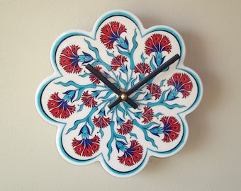 7 Inch Turkish Tile Floral Wall Clock in Turquoise and Red, Ceramic Tile Clock, Kitchen Wall Decor, Unique Wall Clock  2325