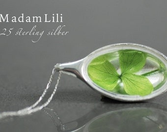 925 sterling silver necklace with real leaves