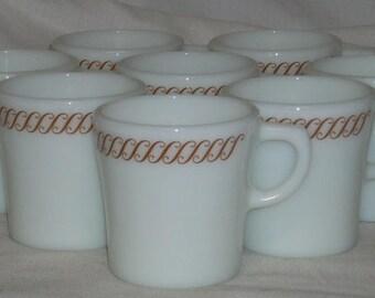 Pyrex Corning Glass Regency Waffle House Coffee Cups Mugs x10