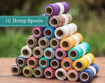 Hemp Cord,  10lb, 205 Feet, Choose 10 Colors,  Hemp Cord, Bulk Hemp Cord, Micro Macrame Cord