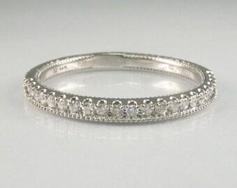 Vintage Ladies Diamond Half Anniversary Band - 22 Diamonds - 14K White Gold