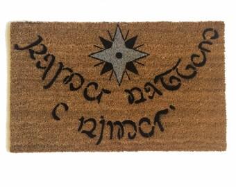 Elvish Tolkien  2 color star of faynor- Speak Friend and Enter- outdoor doormat  funny geek nerdy wedding housewarming hostess gift
