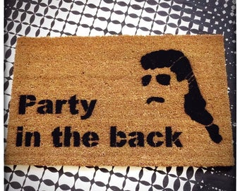 Party in the back™ MULLET country doormat welcome porch outdoor backyard bbq funny redneck hipster