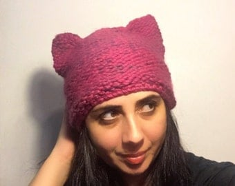 Pink Pussy Hat, Pussyears Pink Hat, Pink Wool Hat with Cat ears, hot pink Hat,  Pussycat Hat in mixed Pink, womens march, Pussy cat Hat