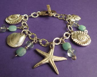 Fine Silver Sea Charm Bracelet with Ocean Quartz and Peruvian Opal - REDUCED