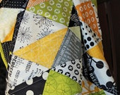 Triangle Patchwork Baby Quilt in Reel Time and Comma by Zen Chic for Moda