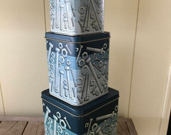 tool storage nuts bolt screw tins stack of 3 tins shades of blue jean blues metal - Metal Storage Containers