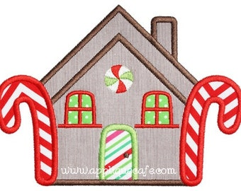 899 Gingerbread House Machine Embroidery Applique Design