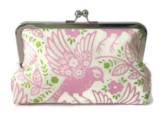 pink bird print Bridesmaids Clutches  Wedding Purse, destination wedding, formal wedding