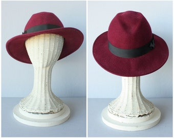 Vintage 1970s Hat | 70s Wool Hat | 1970s Hat | 70s Ladies Fedora | Burgundy Wool Hat