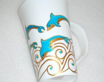 5 Jumping Blue Dolphins Coffee Mug Hand Painted Porcelain Art Coastal Decor