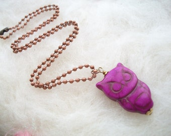 Necklace Purple Owl Bead Copper Ball Chain Owl Jewelry Owl Necklace Owl Pendant Nature Jewelry Barn Owl Nature Necklace