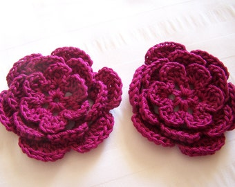 Crocheted flower 3 inch magenta cotton set of 2 flowers flower motif
