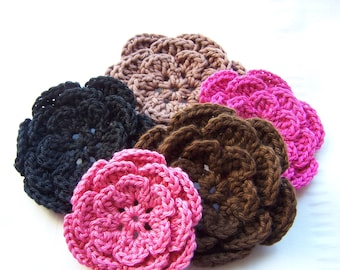 Crochet flowers set of 5 embellishments 3 inch brown pink black