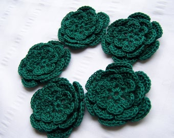 Crochet flower 2.5 inch  cotton pine green set of 5 flowers