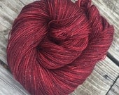Sparkle Sock Yarn Ruby Daggers Hand Dyed Hand Painted ruby red sock yarn 438 yards superwash merino nylon stellina fingering