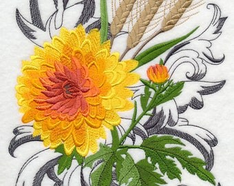 AUTUMN FLOWERS With FLOURISH - Machine Embroidered Quilt Block (AzEB)