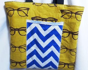Glasses Print Book Bag