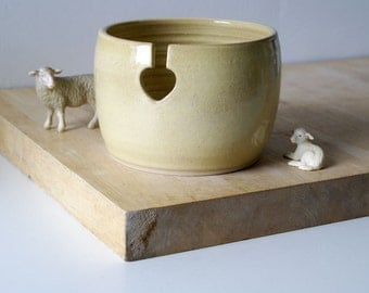 Ready to Ship - The love heart yarn bowl in pepper yellow